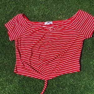 Red and white striped cropped top